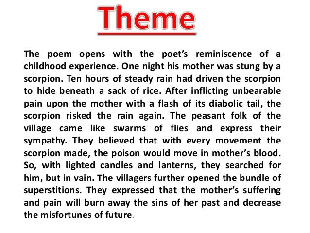 commentary on night of the scorpion Get an answer for 'summary of the poem night of the scorpion by nissim ezekiel' and find homework help for other poetry questions at enotes.