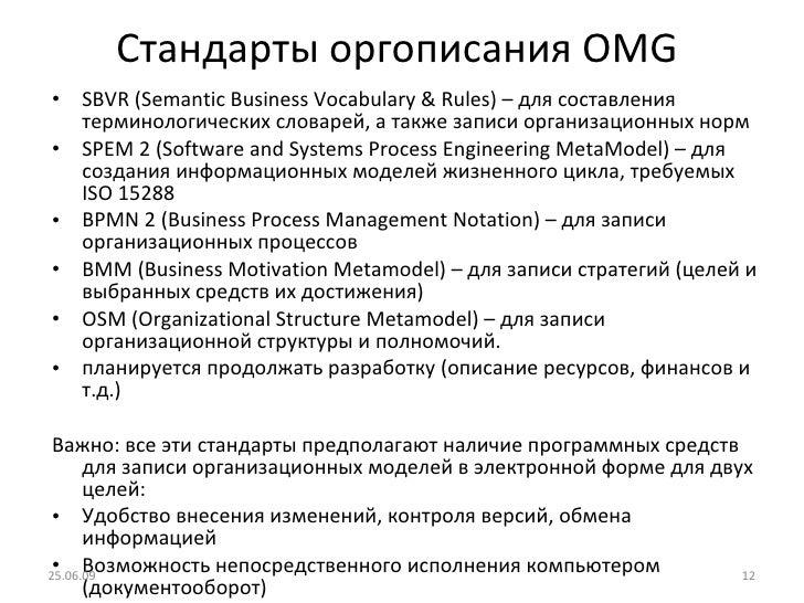 Стандарты   оргописания  OMG   <ul><li>SBVR (Semantic Business Vocabulary & Rules)  – для составления терминологических сл...