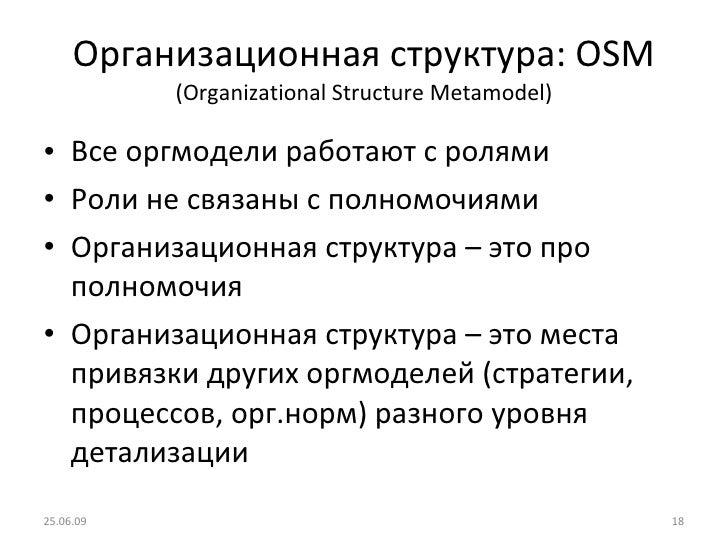 Организационная структура:  OSM (Organizational Structure Metamodel) <ul><li>Все оргмодели работают с ролями </li></ul><ul...