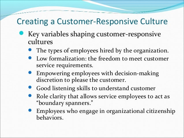 customer responsive culture key variable Telephone enquiries: our global customer services team is available 24 hours a day, 7 days a week email enquiries: we will respond within 24 hours, monday to friday.