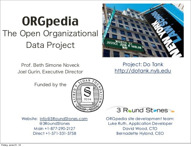 ORGpediaThe Open OrganizationalData ProjectProf. Beth Simone NoveckJoel Gurin, Executive DirectorWebsite: info@3RoundStone...
