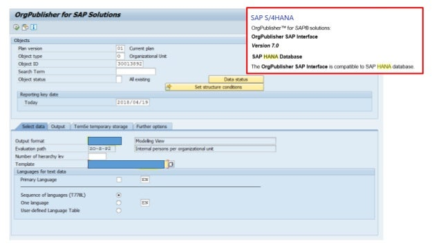 Org publisher OPSAP connector 7.0 SAP S/4hana