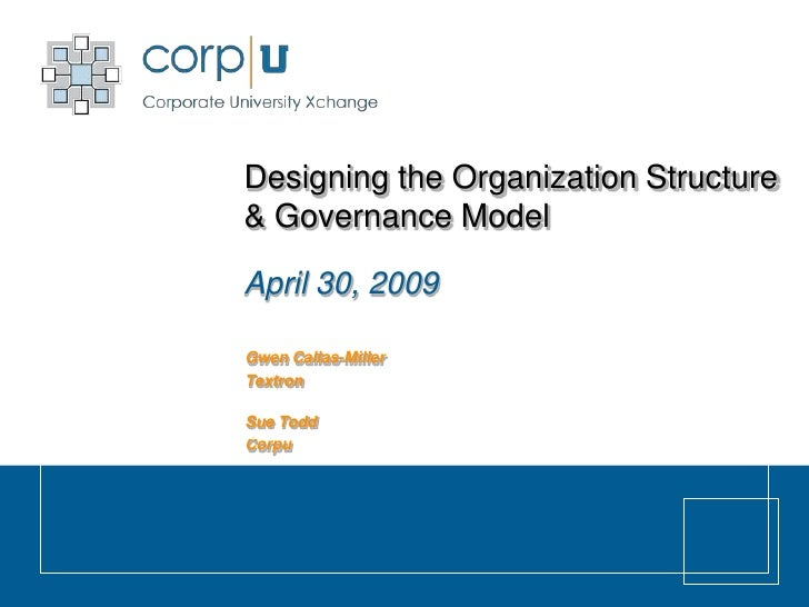 Designing the Organization Structure & Governance Model  April 30, 2009  Gwen Callas-Miller Textron  Sue Todd Corpu