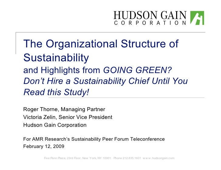 The Organizational Structure of Sustainability and Highlights from GOING GREEN? Don't Hire a Sustainability Chief Until Yo...