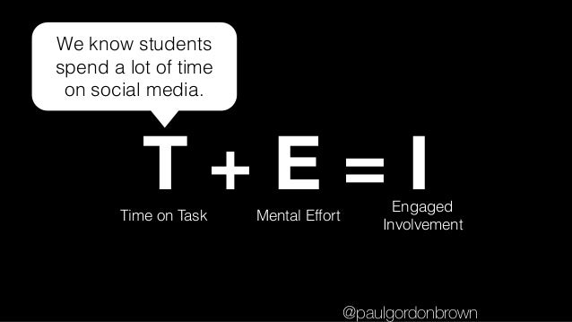 T + E = ITime on Task Mental Effort Engaged Involvement We know students spend a lot of time on social media. @paulgordonb...