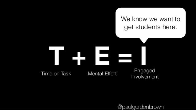 T + E = ITime on Task Mental Effort Engaged Involvement We know we want to get students here. @paulgordonbrown