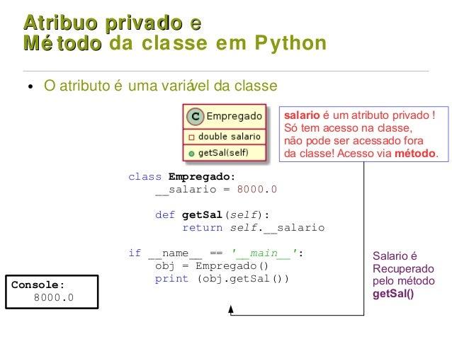 Atribuo privadoAtribuo privado ee Mé todoMé todo da classe em Python ● O atributo é uma variável da classe Console: 8000.0...