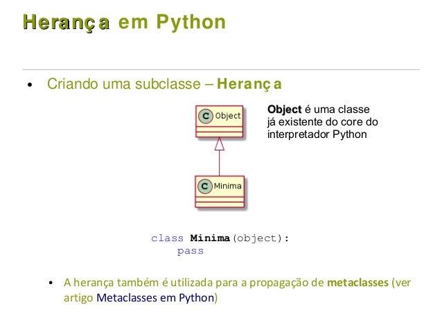 Heranç aHeranç a em Python ● Criando uma subclasse – Heranç a ● A herança também é utilizada para a propagação de metaclas...