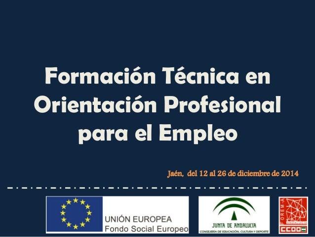 Formación Técnica en Orientación Profesional para el Empleo  Jaén, del 12 al 26 de diciembre de 2014
