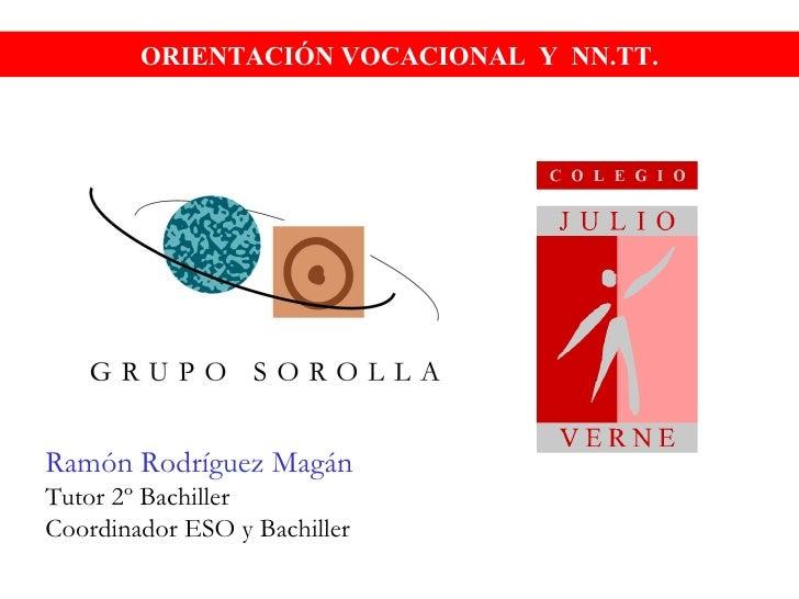 ORIENTACIÓN VOCACIONAL  Y  NN.TT. Ramón Rodríguez Magán Tutor 2º Bachiller Coordinador ESO y Bachiller