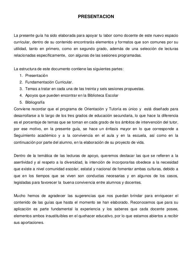 PRESENTACION  La presente guía ha sido elaborada para apoyar tu labor como docente de este nuevo espacio curricular, dentr...