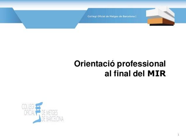 Orientació professional al final del MIR 1