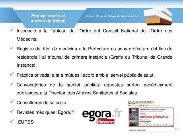 França: accés al mercat de treball  Inscripció a la Tableau de l'Ordre del Conseil National de l'Ordre des Médecins.  Re...