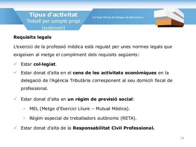 Requisits legals L'exercici de la professió mèdica està regulat per unes normes legals que exigeixen al metge el complimen...