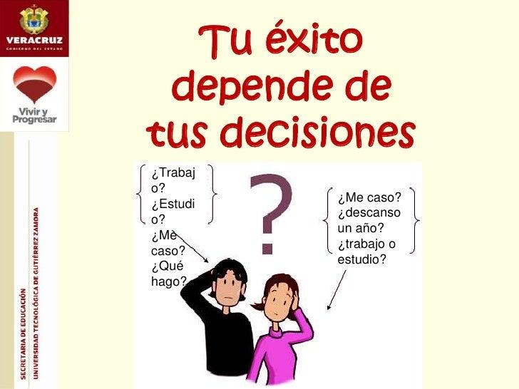 Tu éxito depende de tus decisiones<br />¿Trabajo?   ¿Estudio? <br />¿Me caso?<br />¿Qué hago?<br />¿Me caso? <br />¿descan...
