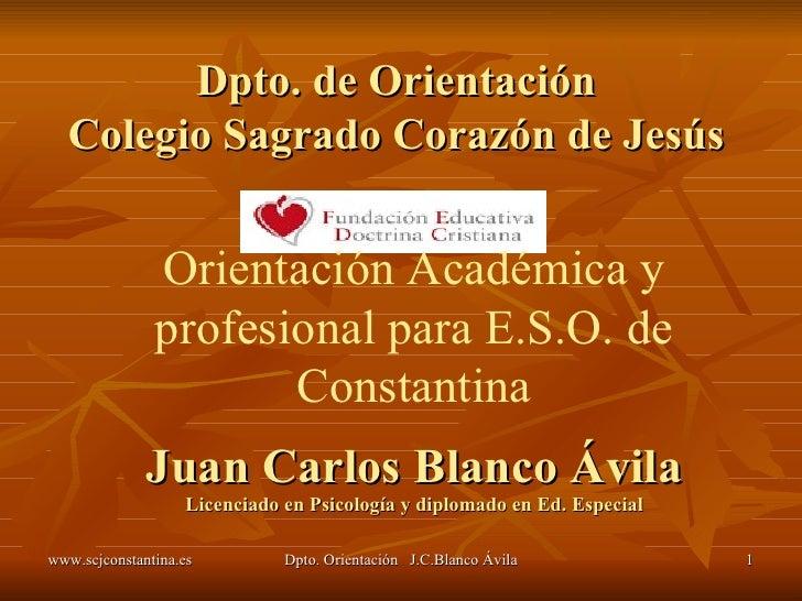 Juan Carlos Blanco Ávila Licenciado en Psicología y diplomado en Ed. Especial Dpto. de Orientación Colegio Sagrado Corazón...