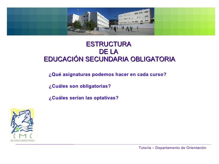ESTRUCTURA  DE LA  EDUCACIÓN SECUNDARIA OBLIGATORIA Tutoría – Departamento de Orientación ¿Qué asignaturas podemos hacer e...