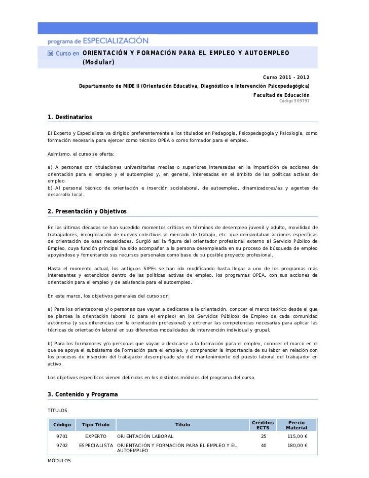 ORIENTACIÓN Y FORMACIÓN PARA EL EMPLEO Y AUTOEMPLEO                (Modular)                                              ...
