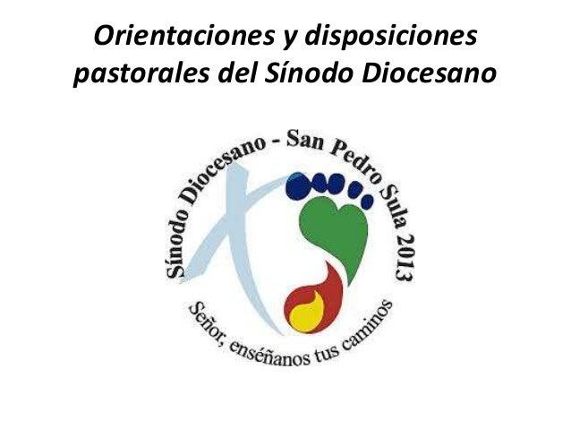 Orientaciones y disposiciones pastorales del Sínodo Diocesano