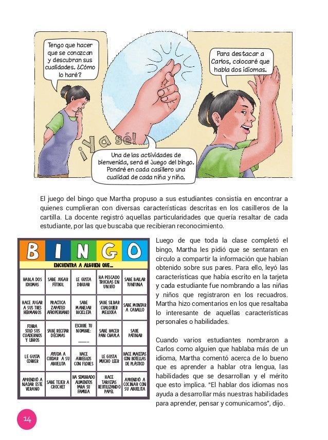 14 El juego del bingo que Martha propuso a sus estudiantes consistía en encontrar a quienes cumplieran con diversas caract...