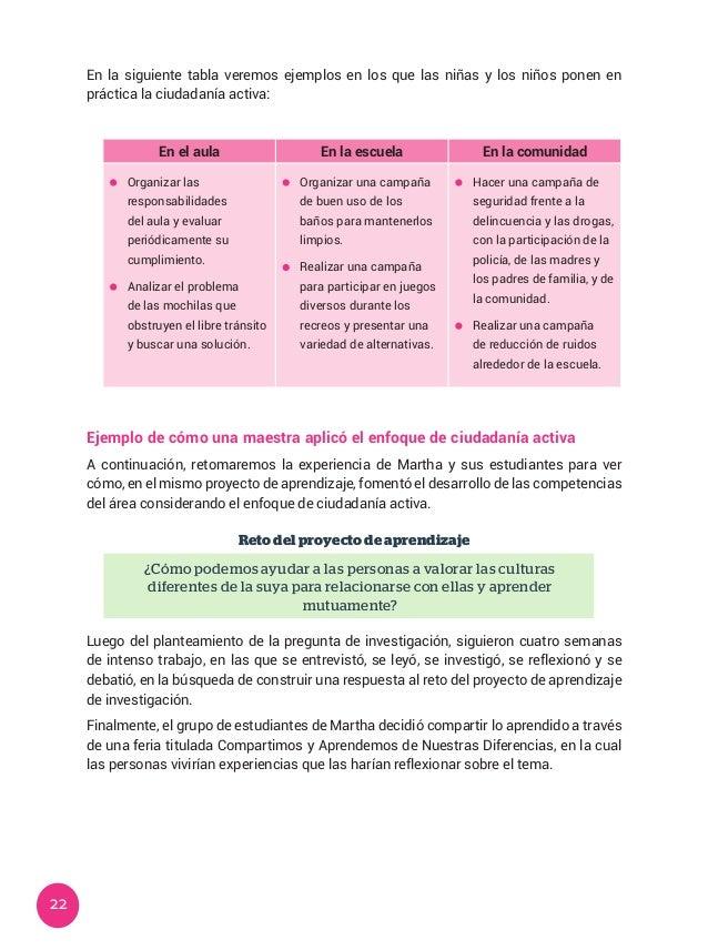 22 En la siguiente tabla veremos ejemplos en los que las niñas y los niños ponen en práctica la ciudadanía activa: En el a...