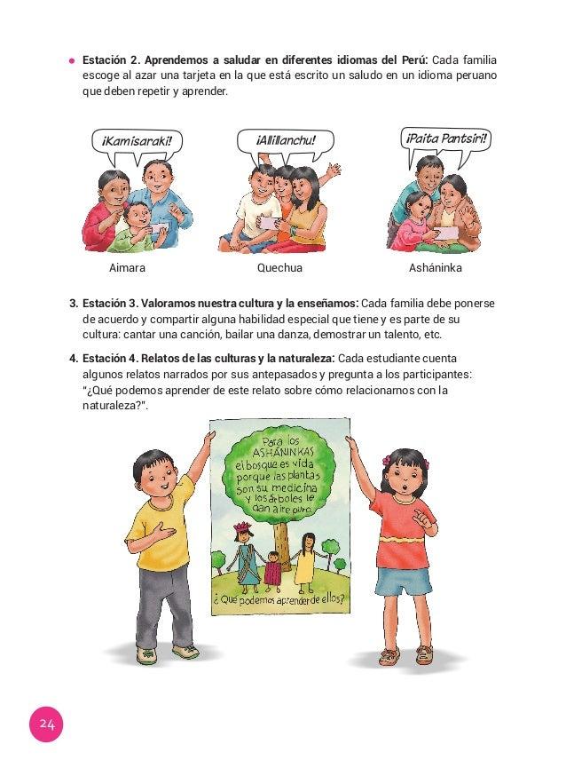 24  Estación 2. Aprendemos a saludar en diferentes idiomas del Perú: Cada familia escoge al azar una tarjeta en la que es...