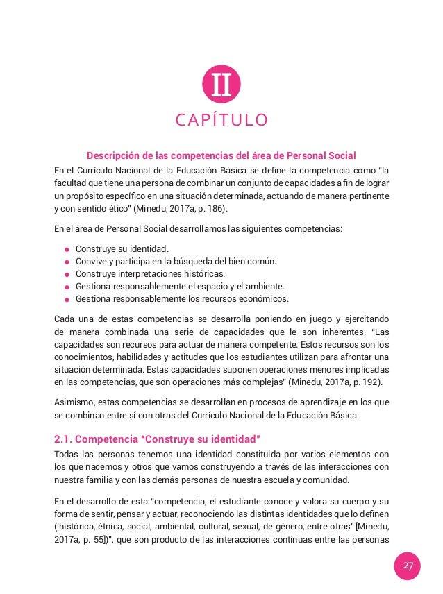 27 CAPÍTULO II Descripción de las competencias del área de Personal Social En el Currículo Nacional de la Educación Básica...