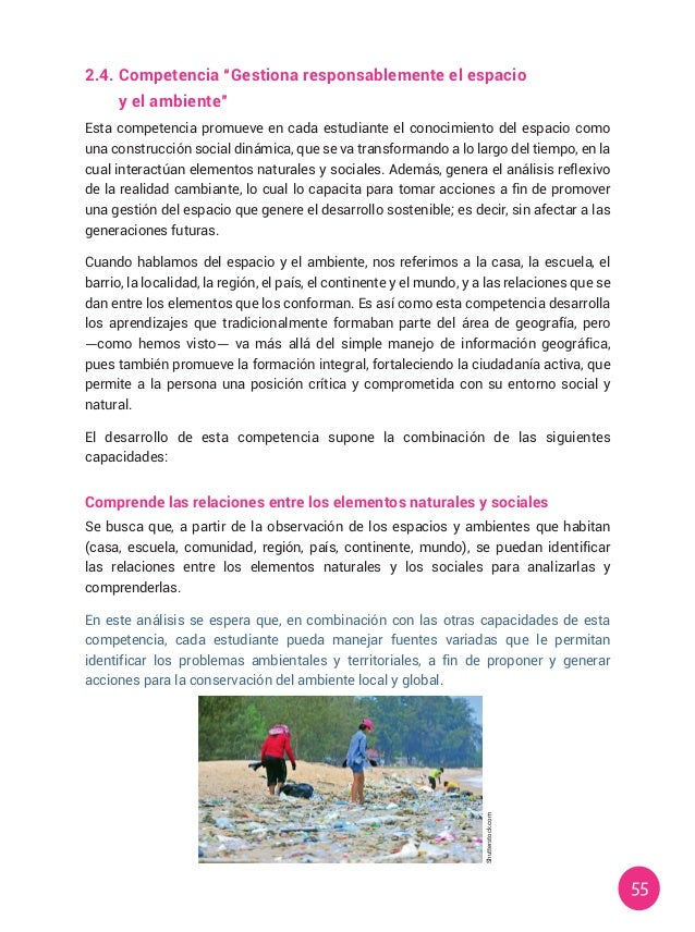 """55 2.4.Competencia """"Gestiona responsablemente el espacio  y el ambiente"""" Esta competencia promueve en cada estudiante el..."""