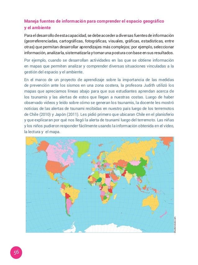 56 Maneja fuentes de información para comprender el espacio geográfico y el ambiente Para el desarrollo de esta capacidad,...