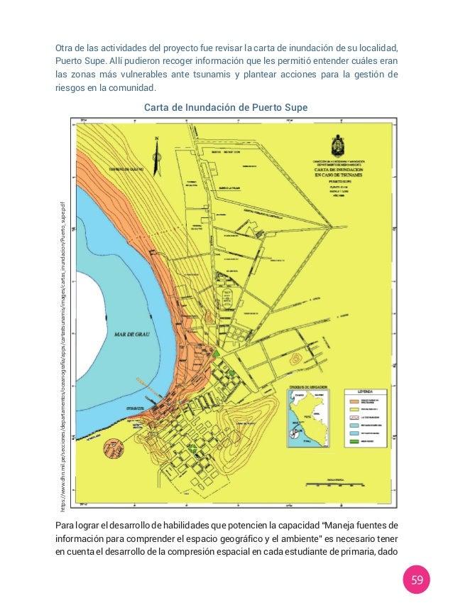 59 Otra de las actividades del proyecto fue revisar la carta de inundación de su localidad, Puerto Supe. Allí pudieron rec...