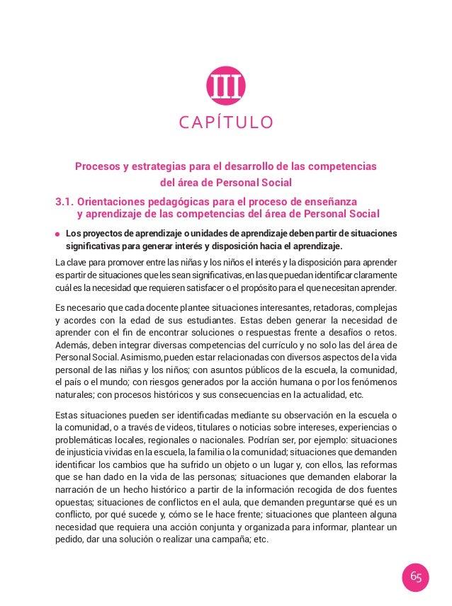65 CAPÍTULO III Procesos y estrategias para el desarrollo de las competencias del área de Personal Social 3.1.Orientacion...