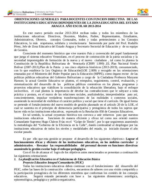 ORIENTACIONES GENERALES PARA DOCENTES CON FUNCION DIRECTIVA DE LAS INSTITUCIONES EDUCATIVAS DEPENDIENTES DE LA ZONA EDUCAT...