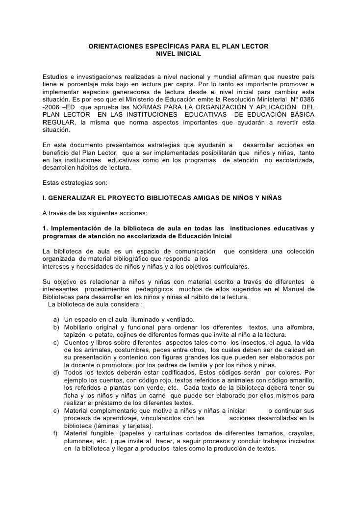 ORIENTACIONES ESPECÍFICAS PARA EL PLAN LECTOR                               NIVEL INICIALEstudios e investigaciones realiz...