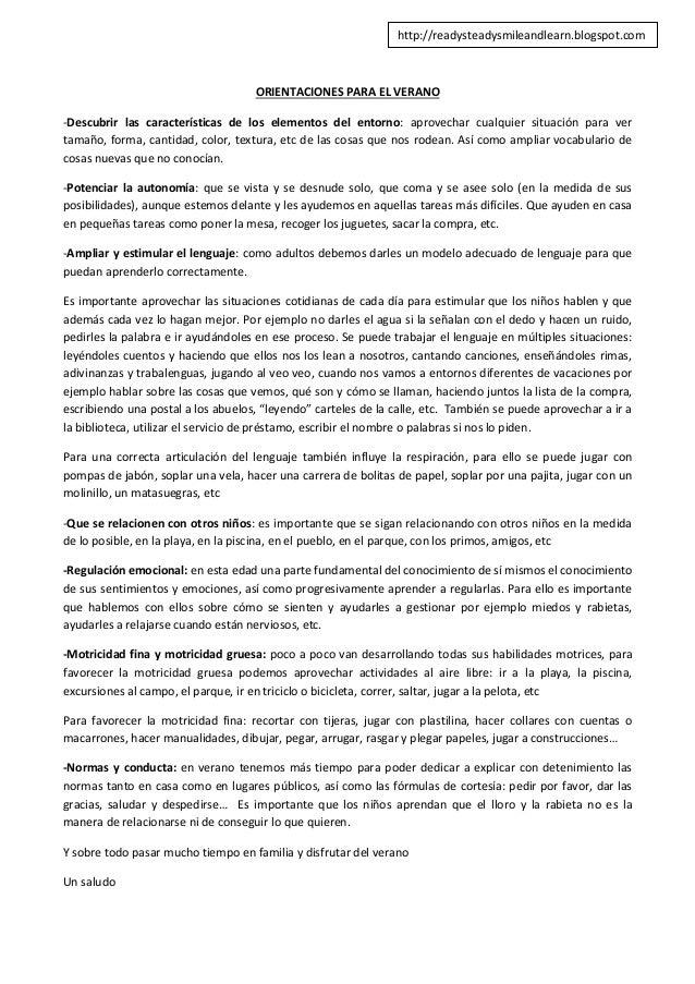 ORIENTACIONES PARA EL VERANO -Descubrir las características de los elementos del entorno: aprovechar cualquier situación p...