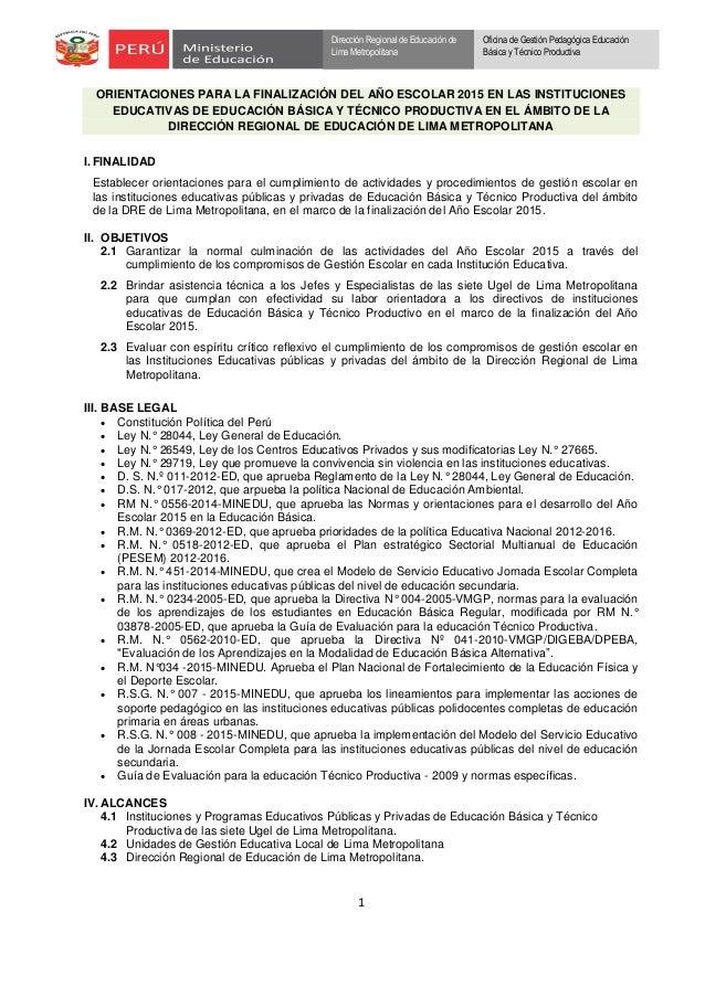 1 Dirección Regional de Educación de Lima Metropolitana Oficina de Gestión Pedagógica Educación Básica y Técnico Productiv...