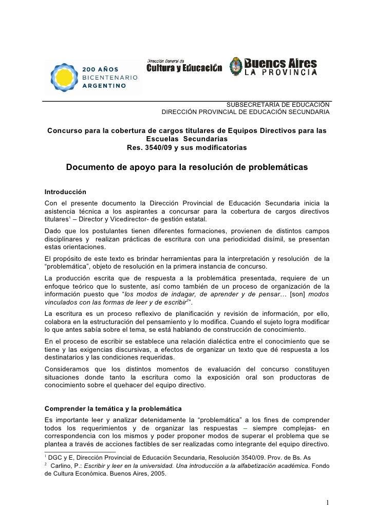 SUBSECRETARÍA DE EDUCACIÓN                                           DIRECCIÓN PROVINCIAL DE EDUCACIÓN SECUNDARIA      Con...