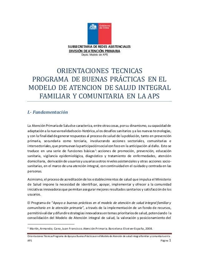 Orientaciones Técnicas Programa deApoyoa Buenas Prácticas enelModelode Atención desalud integralfamiliar y comunitaria enl...