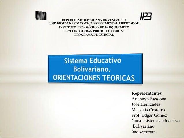 REPUBLICA BOLIVARIANA DE VENEZUELA UNIVERSIDAD PEDAGÓGICA EXPERIMENTAL LIBERTADOR INSTITUTO PEDAGÓGICO DE BARQUISIMETO Dr....