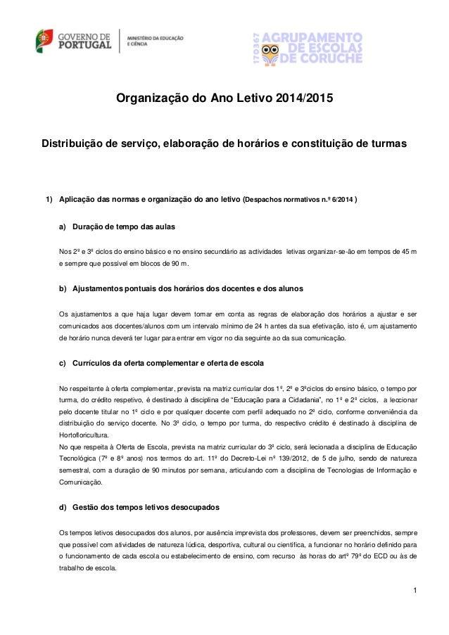 1 Organização do Ano Letivo 2014/2015 Distribuição de serviço, elaboração de horários e constituição de turmas 1) Aplicaçã...