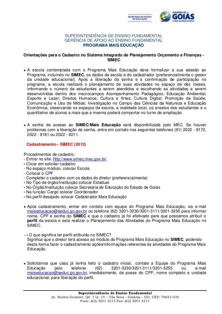 SUPERINTENDÊNCIA DE ENSINO FUNDAMENTAL                     GERÊNCIA DE APOIO AO ENSINO FUNDAMENTAL                        ...