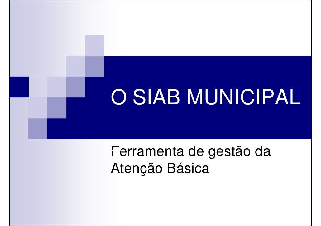 O SIAB MUNICIPALFerramenta de gestão daAtenção Básica