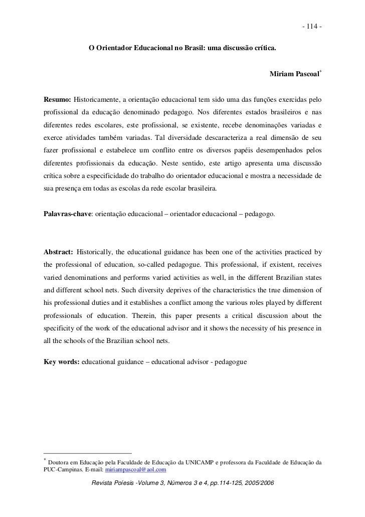 - 114 -                O Orientador Educacional no Brasil: uma discussão crítica.                                         ...