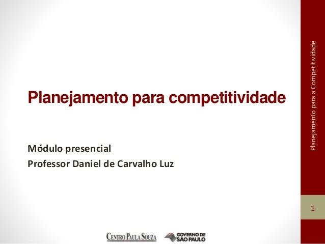 Planejamento para a Competitividade  Planejamento para competitividade  Módulo presencial  Professor Daniel de Carvalho Lu...