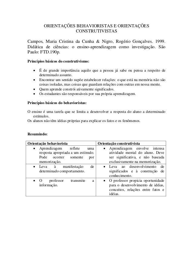 ORIENTAÇÕES BEHAVIORISTAS E ORIENTAÇÕES CONSTRUTIVISTAS Campos, Maria Cristina da Cunha & Nigro, Rogério Gonçalves. 1999. ...