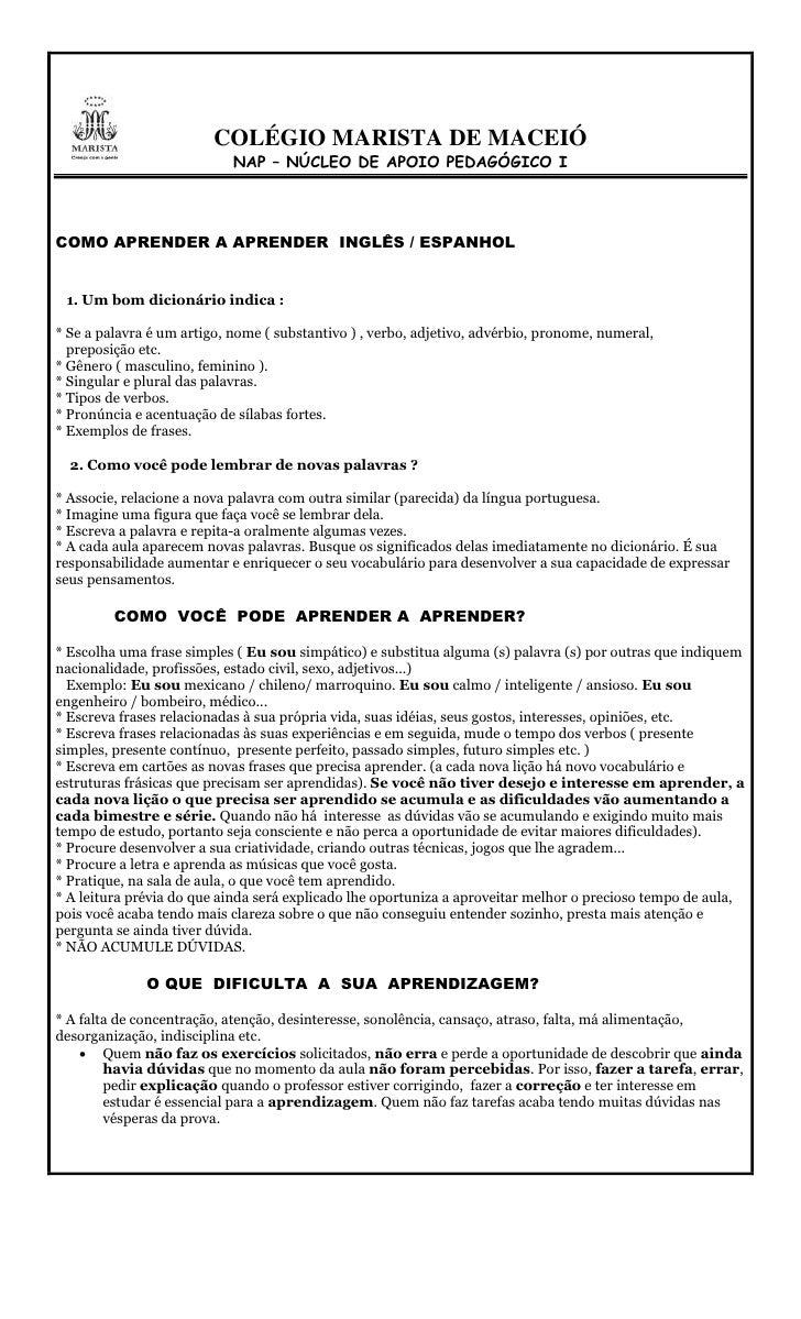 COLÉGIO MARISTA DE MACEIÓ                            NAP – NÚCLEO DE APOIO PEDAGÓGICO ICOMO APRENDER A APRENDER INGLÊS / E...