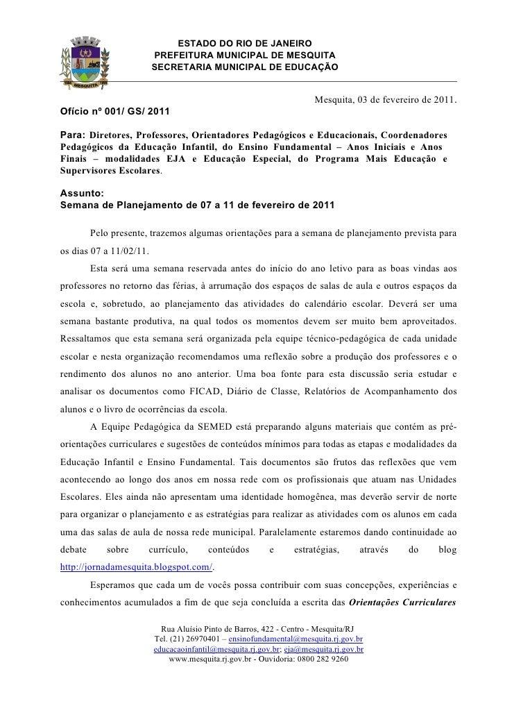 ESTADO DO RIO DE JANEIRO                         PREFEITURA MUNICIPAL DE MESQUITA                         SECRETARIA MUNIC...