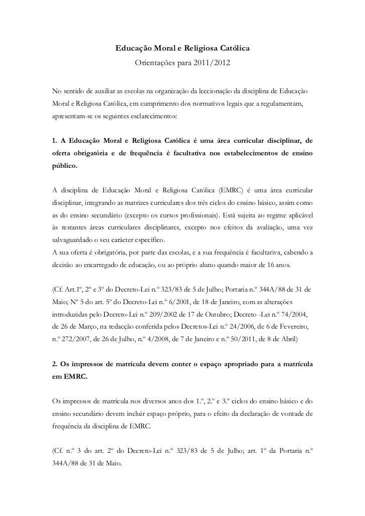 Educação Moral e Religiosa Católica                             Orientações para 2011/2012No sentido de auxiliar as escola...