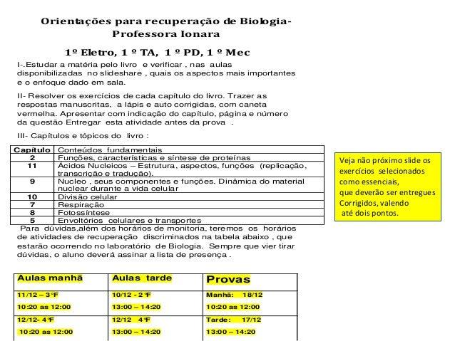 Orientações para recuperação de Biologia-                 Professora Ionara              1º Eletro, 1 º TA, 1 º PD, 1 º Me...