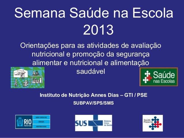 Semana Saúde na Escola         2013Orientações para as atividades de avaliação    nutricional e promoção da segurança    a...