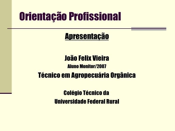 Orientação Profissional <ul><li>Apresentação </li></ul><ul><li>João Felix Vieira </li></ul><ul><li>Aluno Monitor/2007 </li...